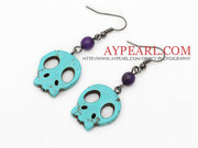 6 Pairs Simple Style Green Turquoise Skull Earrings is sold at US$ 3.9