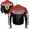 Ferrari Red Black Leather Biker Jacket